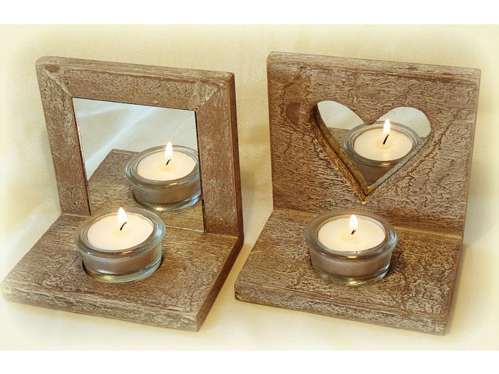 Spiegel Mit Teelichthaltern Aus Holz Mit Spiegel