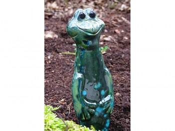 Blumenstecker lustiger Frosch aus Keramik - dunkelgrün