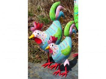 buntes Huhn aus Metall - klein