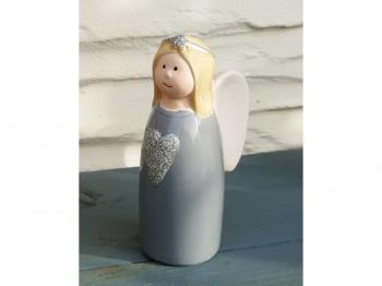 Engel aus Keramik - grau