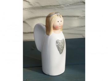 Engel aus Keramik - weiß