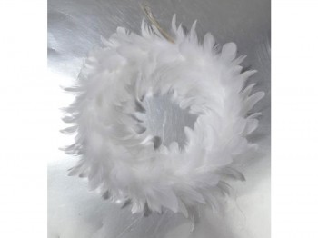 Federnkranz weiß - 15 cm