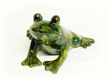 Große Froschfigur aus Keramik sitzend, dunkelgrün