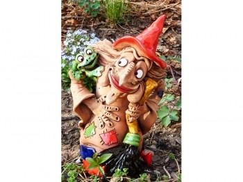 Hexe mit Frosch - Gartenstecker