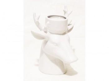 Hirschkopf Teelichthalter - weiß