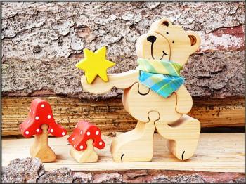 Holzpuzzle - Toni der Bär mit Stern