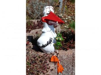 Storch mit Frosch - Gartenstecker