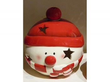 Windlicht Weihnachtsmotiv - Schneemann aus Keramik