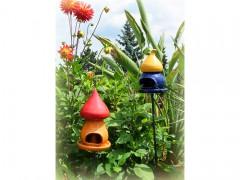 Vogelfutterhaus aus Keramik *Zipfel* gelb/blau