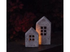 Windlicht Haus groß - Betonoptik