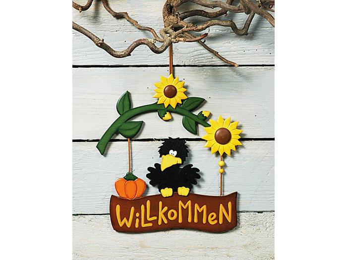 Herbstdeko Mit Sonnenblumen : Schild Willkommen Herbstdekoration