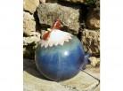 blauer Hahn aus terrakotta - groß
