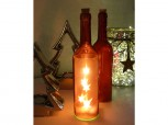 Flasche mit 5 LED Sternen - rot