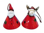 Christbaumhänger Glocke - Santa & Rentier aus Keramik