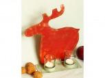 weihnachtlicher Teelichthalter Rentier - rot
