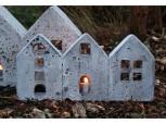 Windlicht - Häuserzeile - klein - Betonoptik